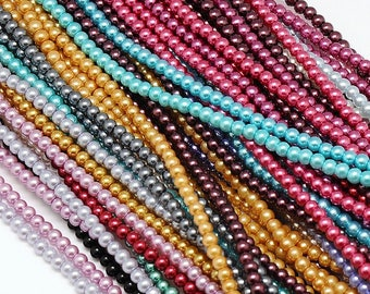 M* - Strand of 4 mm Glass Pearls - Various Colors (1956)