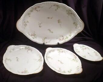 Theodore Haviland Limoges Schleiger 1240 Set of 4 Serving Platters, Antique Porcelain, 1903