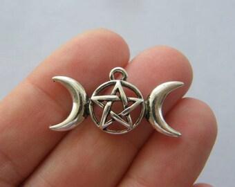 BULK 30 Triple moon charms antique silver tone HC240