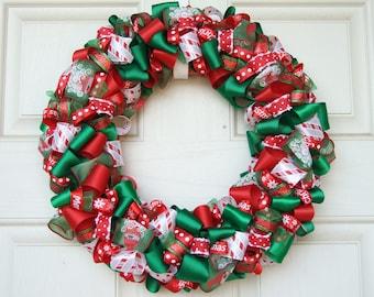 Christmas Ribbon Wreath - Christmas decoration home decor holiday wreath housewares ribbon wreath door decor