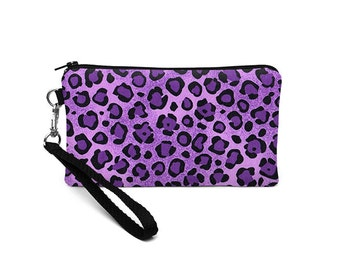 Leopard iPhone 8 Case, Women's iPhone Purse, Cell Phone Clutch Bag, Smartphone Wristlet, Fabric Wristlet Wallet- purple black cheetah print