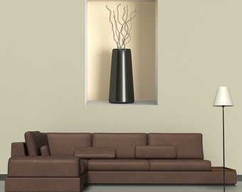 Wall decals 3D illusion vase A501 - Stickers 3D illusion vase A501