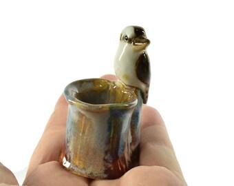 ceramic kookaburra figurine toothpick holder Australian pottery ooak by Anita Reay On Etsy bird art bird figurine tooth pick holder