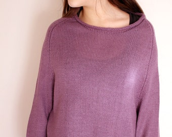 Knit Sweater Women Lilac Oversize Loose Knitted Lightweight Sweater Knitting Jumper Loose Pullover, spring cozy Gypsy Style, womens knitwear