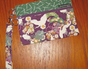 Wrist Strap Zippered Pouch Flying Cranes and Pines Design Japanese Asian Fabric Purple