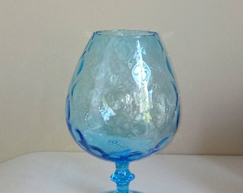 Vintage Large Blue Glass Brandy Snifter - Aqua Blue Vase - Seaside Decor - Vintage Glass Vase - Blue and White Decor