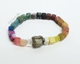 rainbow gemstone stacking bracelet - assorted gemstone bracelet - pyrite focal bead - cube bracelet - handmade by RockinLola