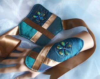 Cuff Bracelets, Fabric Cuffs, Cosplay Cuff Bracelets, Beaded, Petrol Green/Blue, Gold, Embroidered