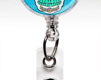 Day of the Dead Retractable ID Badge Holder - Sugar Skull - Nurse Badge - Blue - Unique Retractable ID Badge Holder - Nurse Gift 291