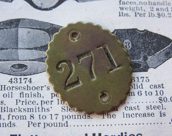 Number Tag Vintage Original Number 271 Tag #271 Antique Brass Metal Scalloped Edge Tag Jewelry Pendant Address Door Apartment Number 1900's