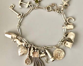 Vintage silver bracelet with charms