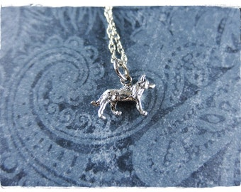 Silver Wolf Necklace - Antique Pewter Wolf Charm on a Delicate Silver Plated Cable Chain or Charm Only