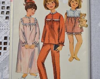 Simplicity 6815 Sewing Pattern Girls Nightgown Pajamas Size 12 DIY Fashion Sewing Crafts PanchosPorch