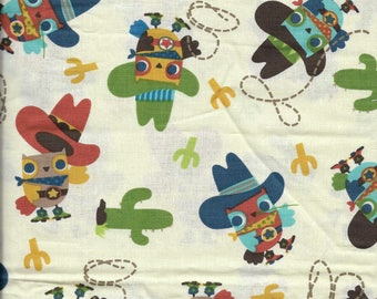 """New Cowboy Owls with Cactus Toss 100% Cotton Fabric 20"""" x 42"""" Piece"""