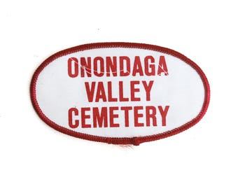 "Vintage Onondaga Valley Cemetery Graveyard Tombstone Employee Patch 4.5"" x 2.5"""