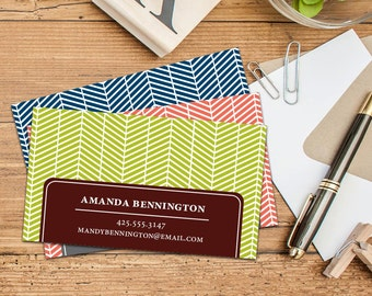 Modern Chevron Calling Card/Business Cards, Set of 50 or 100 Business Cards, Personalized Calling Cards, Custom Business Cards, Bold Cards