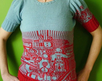red and blue handknit robot sweater