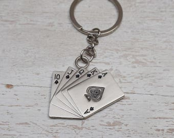 charm holder Keychain, playing cards, poker, silver