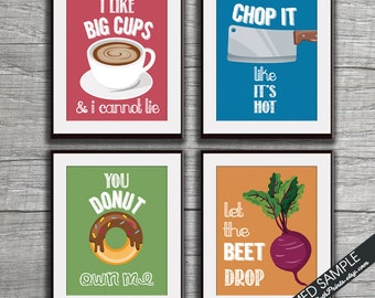 Big Cups, Chop it, You Donut, Beet Drop (Funny Kitchen Song Series) Set of 4 Art Prints (Featured in Colors 13,16,18,7) Kitchen Art