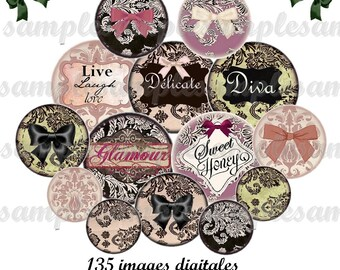 Digital collage sheet 1 inch circles lace vintage glamour printable download for pendants bottle caps bezel findings cabochon magnets