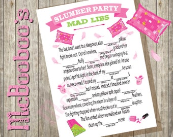 INSTANT DOWNLOAD - Sleepover slumber birthday party game Mad Lib- 5x7 printable pillow fight for girls