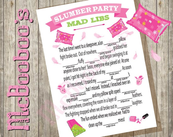 INSTANT DOWNLOAD Sleepover slumber birthday party game Mad