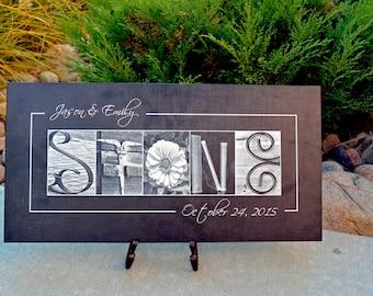 Wedding Sign - LAST Name Photo Art -  Canvas Letter Art - 10x20