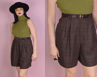 80s Plaid High Waisted Shorts/ US 14/ 1980s