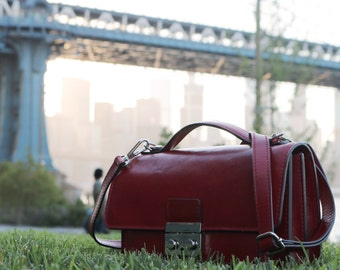 Leather Satchel Clutch Mini / Full Grain Leather / Floto Milano Mini 0914 Red / Crossbody Strap / Handbag