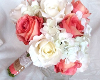 Coral rose bouquet and boutonniere