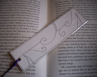 Floral bookmark, Laminated Abstracted Floral Stitched Bookmark