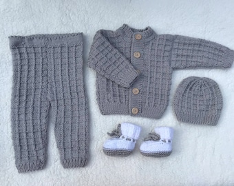 Gray Knitted Baby Clothing Set