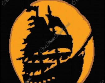 Ghost Pirate Ship Graphgan 250x333***PATTERN ONLY***PDF File***Crochet Tunisian