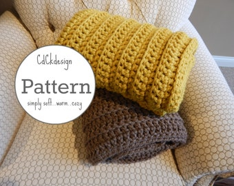 Crochet Pattern//Chunky Crochet Throw Blanket - Ribbed Chunky Crochet Blanket - Chunky Afghan - Farmhouse Decor - Beginners Pattern