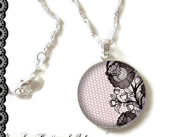 925 Sterling Silver Chain: 25 mm cabochon necklace * flowers * (070218)