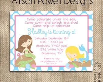 Mermaid Birthday - Party Pool Party Custom Digital Invitation