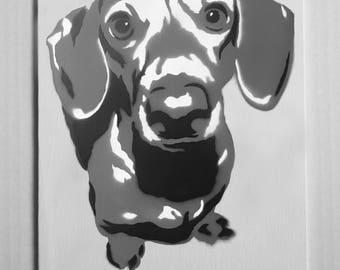 "Dachshund Portrait Spray Painting, 8""x10"" Canvas Panel"