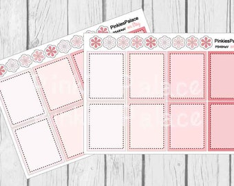 Full Box Planner Stickers Shades of Pink 4 colors Quantity of 8 stickers