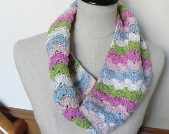 Crochet cowl scarf in pastel shades of pink, green, blue, and white is ready to ship, crochet infinity scarf #528