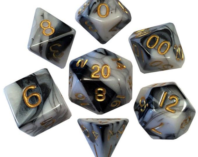 7-Die Set Marble: Marble/Gold- MTD1038 - Metallic Dice Games