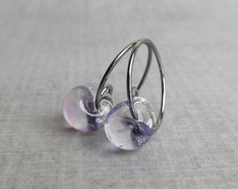 Purple Hoops Oxidized Silver, Purple Earrings, Glass Drop Earrings Purple Glass, Sterling Silver Oxidized Earrings, Small Wire Hoops Purple