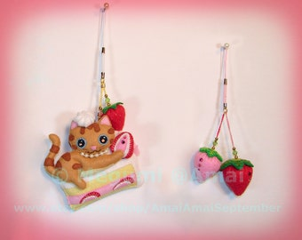 Hand-stitched Felt Kitty & Strawberry Shortcake Ornament Charm Strap food fruit berry doll cat pet mousse cake tea time shop cute bag pull