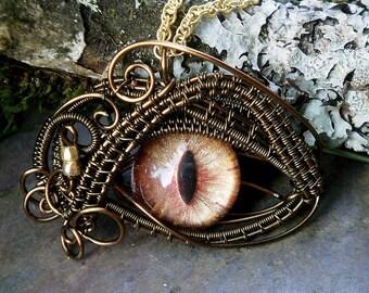 Gothic Steampunk Bronze Evil Eye Pendant Golden Sunset