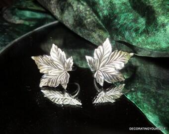 Beau Maple Leaf Sterling Silver Earrings Screw Back On