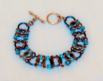 Beaded Chainmail Bracelet in Blue and Copper, 4 to 1 Chainmaille Bracelet, Chainmail Statement Bracelet