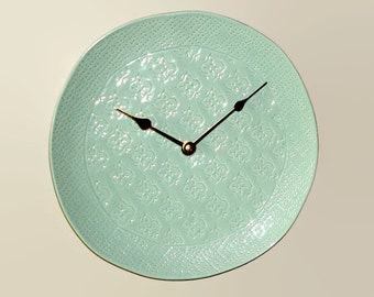 10-1/2 Inch Seafoam Green Wall Clock, SILENT Wall Clock, French Country Home Decor, Ceramic Plate Clock, Cottage Chic Kitchen Clock  2481