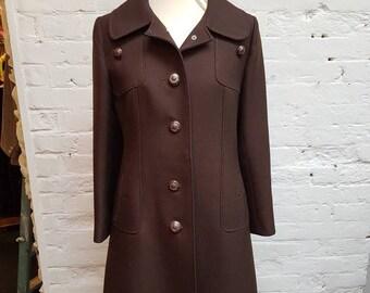 1970s Mansfield brown winter coat. UK size 10