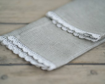 100% linen gray waffle face, hand and bath towels with handmade lace trim