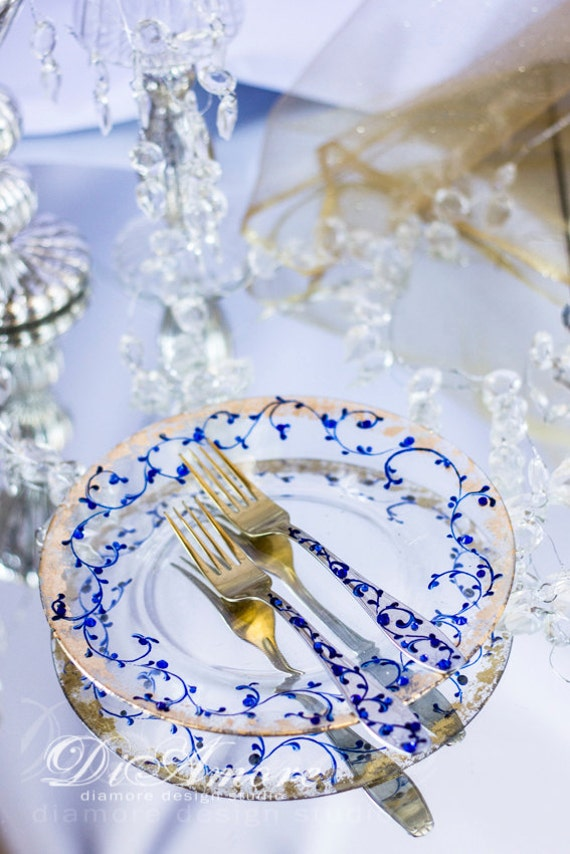 sc 1 st  Etsy & Personalized Table Setting Royal blue and Gold Wedding Forks