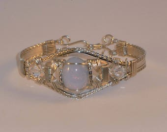 "Argentium Silver Victorian Bangle Bracelet with Vintage German ""Opal"" Glass and Swarovski Crystals - ALL SIZES"